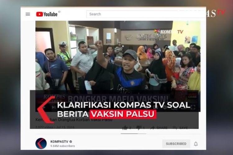 Cuplikan potongan video Kompas TV soal vaksin palsu di Bekasi tersebar luas di media sosial dan dikaitkan dengan vaksinasi Covid-19 saat ini. Padahal, video itu adalah hasil reportase tahun 2016. Yang dipersoalkan pun bukan vaksin palsu Covid-19, melainkan vaksin anak.