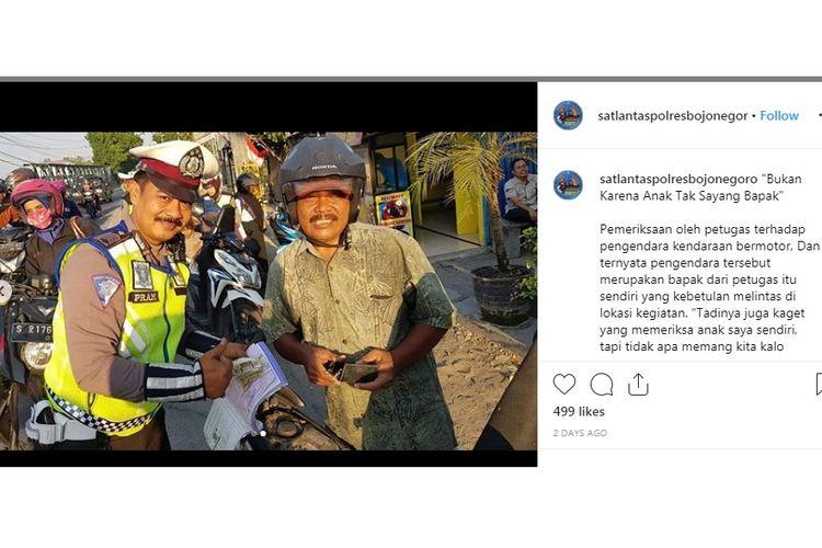 Polisi Bojonegoro merazia ayah mertuanya sendiri saat Operasi Patuh Semeru, Senin (9/9/2019).