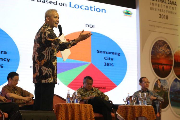 Ganjar Pranowo saat menghadiri acara Central Java Investment Business Forum (CJIBF) 2018 di Hotel Grand Sahid Jaya, Jakarta, Senin (26/11/2018)
