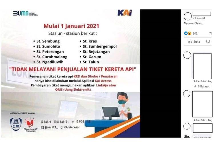 Tangkapan layar unggahan yang menampilkan flyer 10 stasiun di Daop 7 Madiun tidak melayani penjualan tiket kereta api mulai 1 Januari 2021.