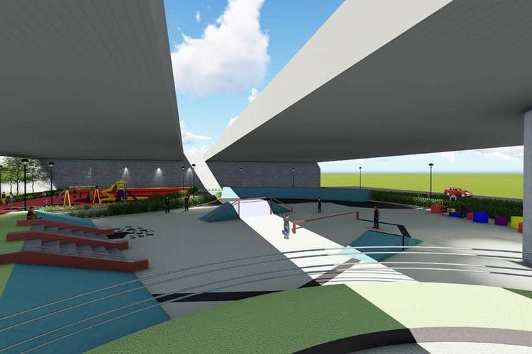 Sketsa rancangan arena taman dan skatepark di kolong Tol Jatiasih, Kota Bekasi.