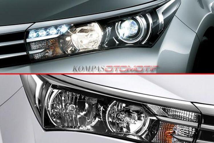 Perbedaan lampu depan tipe V (atas, lampu jauh LED proyeksi, dekat halogen) dengan G (bawah), keduanya menggunakan halogen standar