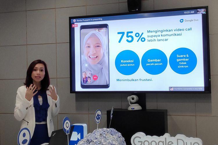 Fibriyani Elastria, Head of Consumer Marketing, Google Indonesia, saat menjelaskan fitur baru Google Duo di kantor Google di Jakarta, Rabu (24/4/2019)