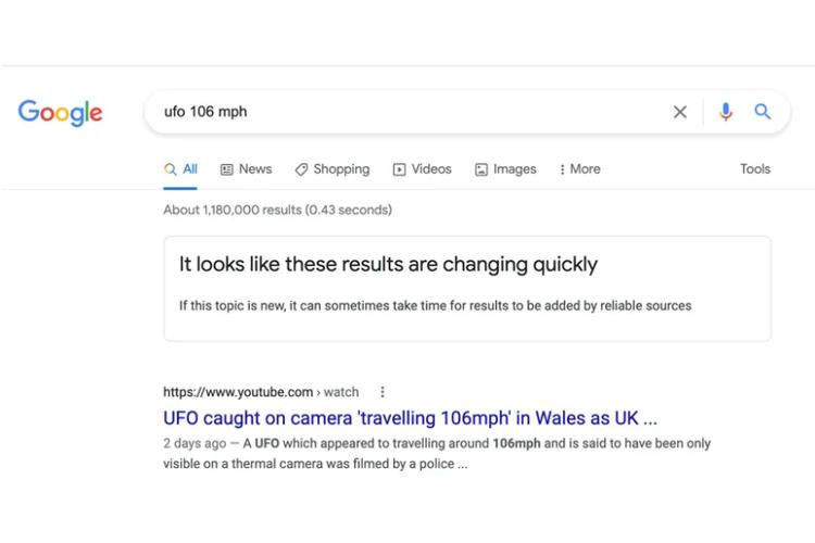 Hasil pencarian Google yang bakal mengingatkan pengguna apabila informasi kurang meyakinkan.