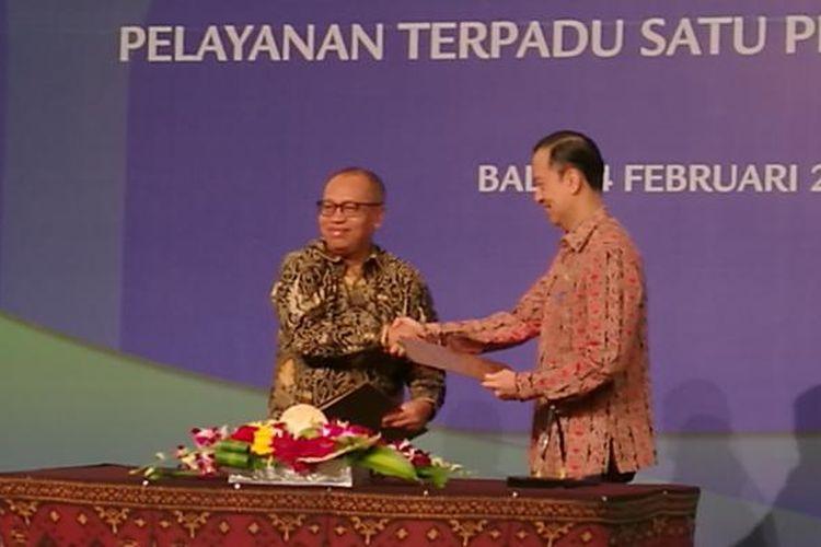Penandatangan MoU Antara BKPM dengan BPJS Ketenagakerjaan di Nusa Dua, Bali,Jumat (24/2/2017)