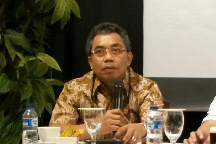 Ketua Fraksi PDI-P DPRD DKI Jakarta Gembong Warsono dalam sebuah diskusi di kawasan Cikini, Jakarta Pusat, Rabu (12/12/2018).