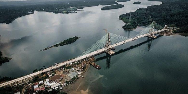 Penampakan Jembatan Pulau Balang setelah tersambung 100 persen.