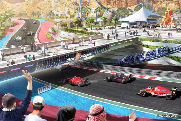 Rancangan sirkuit di Qiddiya, Arab Saudi yang akan dibangun untuk lokasi balap Formula 1.