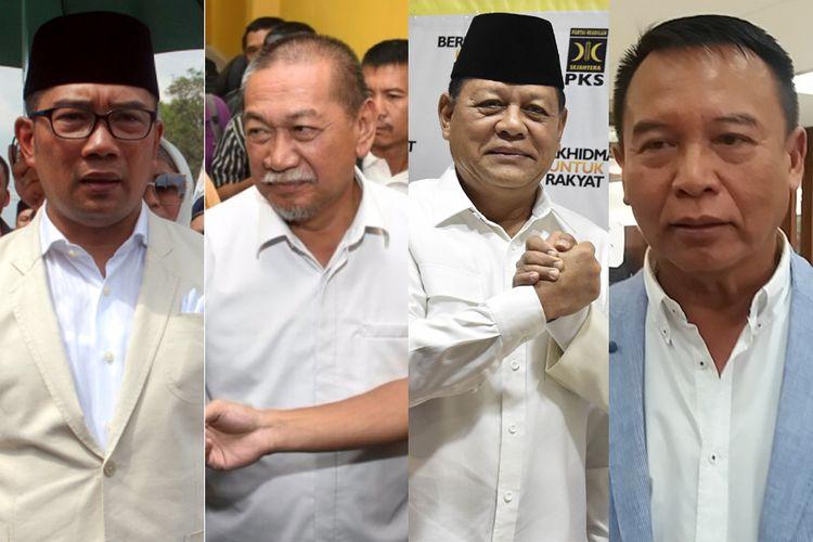 Bakal calon gubernur Jawa Barat, yakni (ki-ka) Ridwan Kamil, Deddy Mizwar, Sudrajat, dan Tb Hasanuddin.