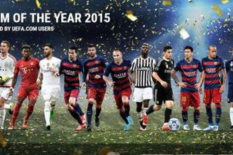 Susunan Tim Terbaik UEFA 2015.