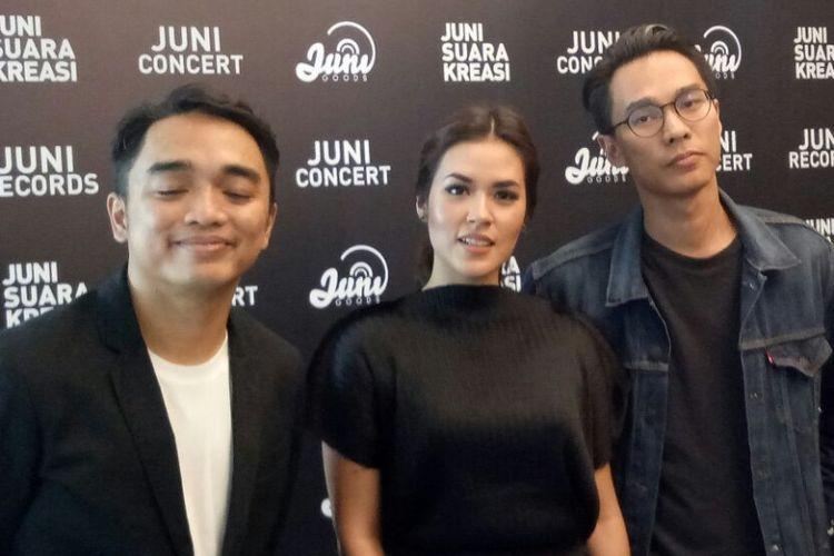 Dipha Barus, Raisa dan Marco Barasuara saat jumpa pers Juni Recordsday di kawasan Bangka, Jakarta Selatan, Kamis (22/2/2018).