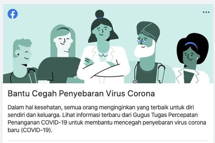 Bantu pencegahan penyebaran virus corona, Facebook berikan informasi edukatif