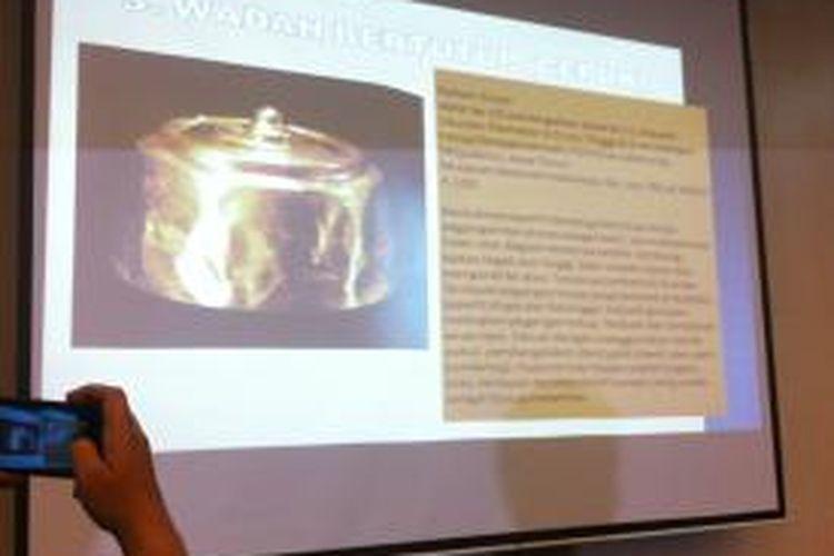 Salah satu gambar artefak yang hilang di miseum nasional, kamis (12/9/2013)