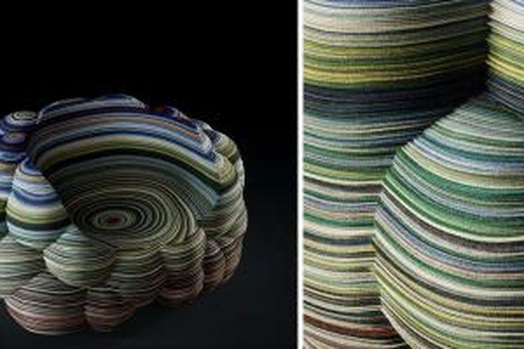 Kursi dari kain berlapis karya Richard Hutten. Kursi ini dibuat dari 545 lapisan kain Kvadrat. Kursi ini akan diluncurkan bulan depan di Milan.
