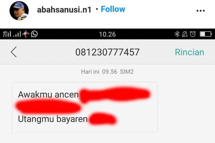 Tangkapan layar Instagram pribadi calon bupati petahana Sanusi yang menginformasikan nomor ponselnya diretas.