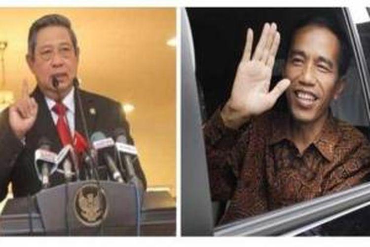 Presiden Susilo Bambang Yudhoyono (kiri), Gubernur DKI Jakarta Joko Widodo (kanan).