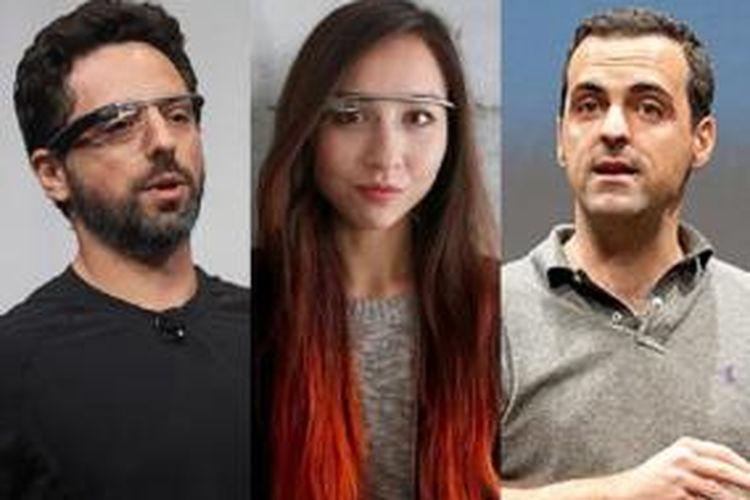 Co-founder Google Sergey Brin, Marketing Manager Google Glass Amanda Rosenberg, VP Xiaomi International Hugo Barra