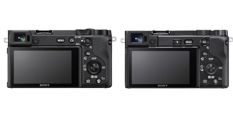 Tampak belakang kamera mirrorless Sony a6600 (kiri) dan a6110.