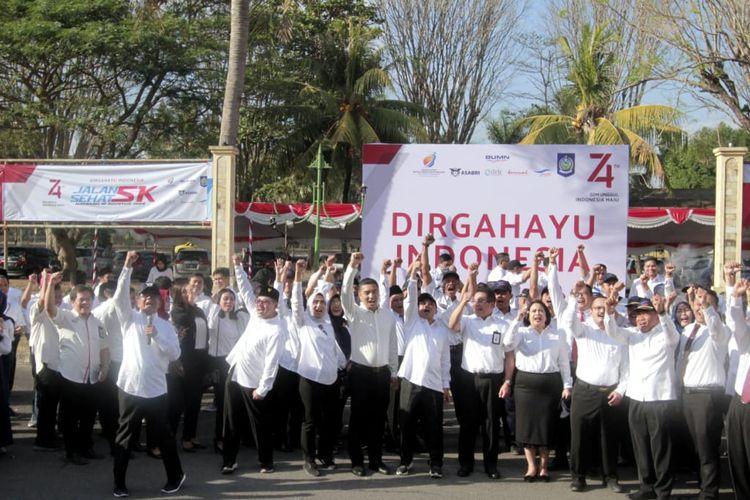 Sinergi BUMN dalam HUT Kemerdekaan RI ke-74 di Lombok, NTB, Sabtu (17/8/2019).