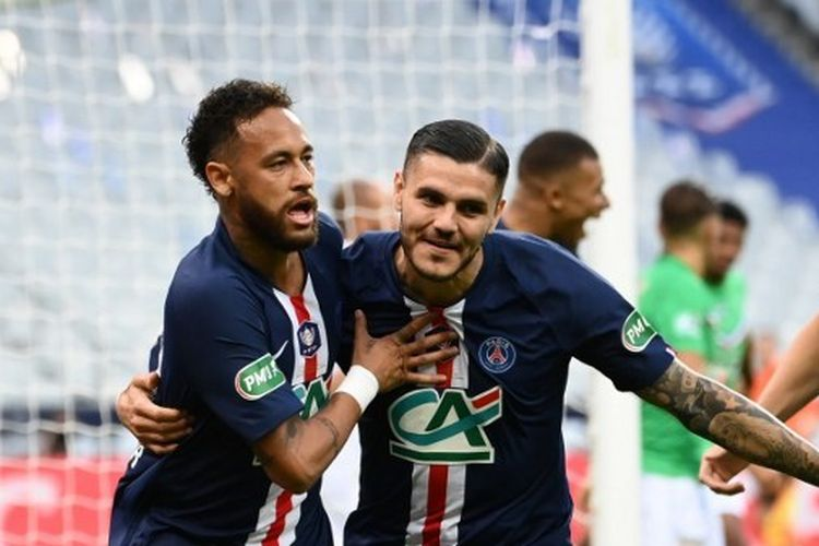 Neymar merayakan gol bersama Mauro Icardi dalam laga PSG vs Saint-Etienne pada final Coupe de France yang digelar di Stadion Stade de France, Saint-Denis, Paris, Sabtu (25/7/2020) dini hari WIB.