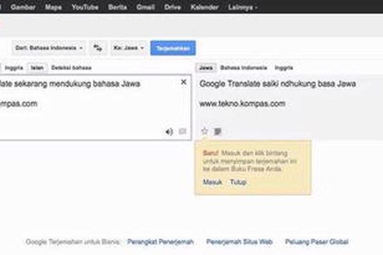 Google Translate Bisa Bahasa Jawa