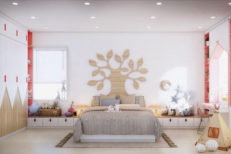 Kamar anak remaja dengan headboard unik