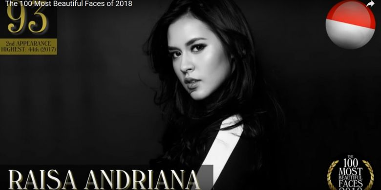 Raisa masuk daftar The 100 Most Beautiful Faces of 2018 versi TC Candler.