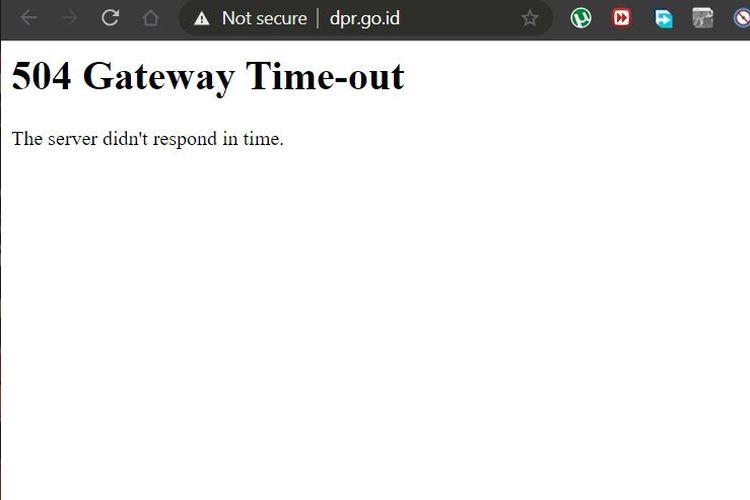 Ilustrasi 504 Gateway Time-out ketika membuka situs DPR RI menggunakan VPN dan browser Chrome.