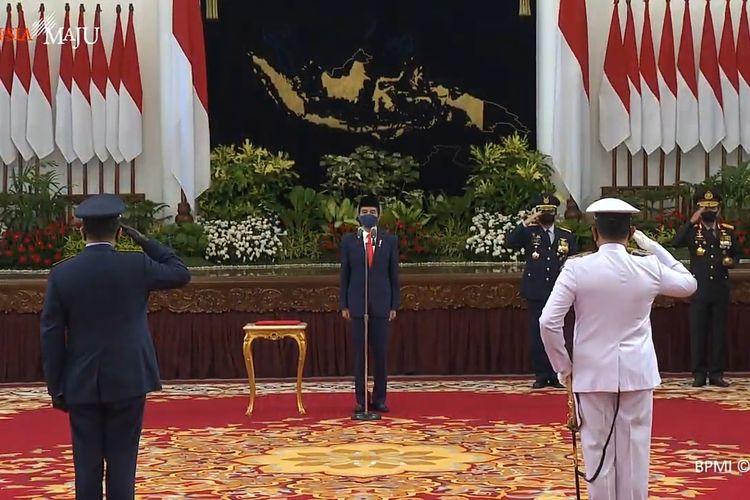 Presiden Joko Widodo melantik Laksamana Madya Yudo Margono sebagai Kepala Staf Angkatan Laut (KSAL) dan Marsekal Madya Fadjar Prasetyo sebagai Kepala Staf Angkatan Udara (KSAU). Pelantikan berlangsung diIstanaNegara, Jakarta, Rabu (20/5/2020) pagi pukul 09.35 WIB.