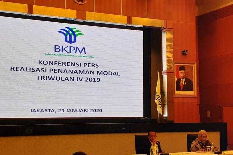 Kepala BKPM Bahlil Lahadalia memaparkan capaian investasi sepanjang tahun 2019 di Gedung BKPM, Jakarta, Rabu (29/1/2020).