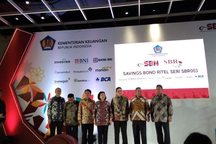 Pemerintah secara resmi meluncurkan Savings Bond Retail Seri 003 (SBR) 003 di Jakarta, Senin (14/5/2018).