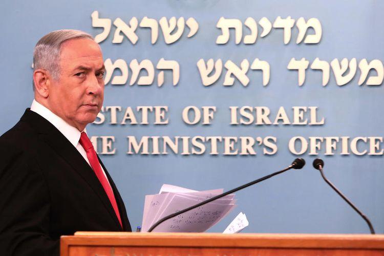 Perdana Menteri Israel, Benjamin Netanyahu, memberikan pidato terkait langkah-langkah yang akan ditempuh Israel dalam memerangi virus corona. Pidato bertempat di Yerusalem, Sabtu (14/3/2020).