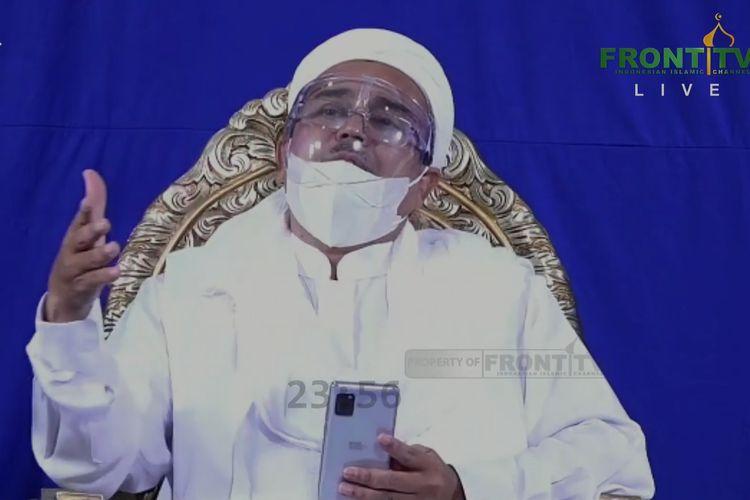 Pimpinan FPI Rizieq Shihab saat menghadiri reuni 212 daring yang disiarkan di Youtube Front TV, Rabu (2/12/2020).