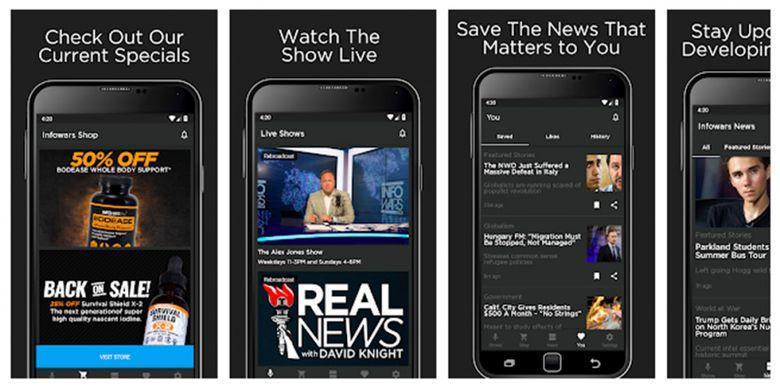 Ilustrasi aplikasi Infowars Official di Google Play Store.