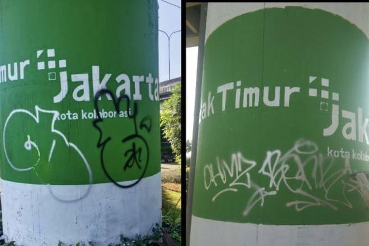 Mural +Jakarta di wilayah Cilandak Timur, Pasar Minggu, Jakarta Selatan dirusak oleh oknum tak bertanggung jawab.