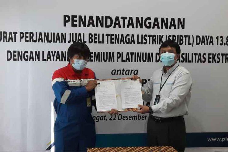 SPJBTL ditandatangani langsung oleh Manajer Pertamina EP Lirik Field Kurniawan Triyo Widodo dan Manajer PLN Unit Pelaksana Pelayanan Pelanggan Rengat Beny Indra Praja.