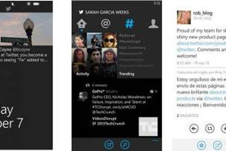 Screenshot tampilan Twiter untuk WIndows Phone