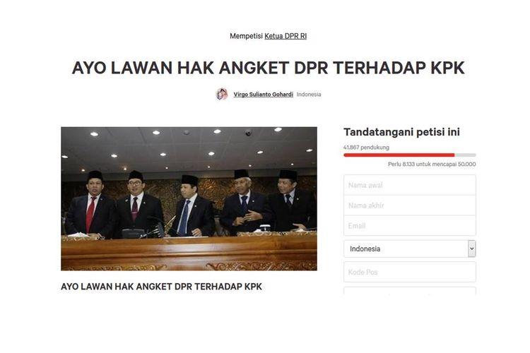 Sejumlah netizen menandatangani petisi melawan hak anket DPR terhadap KPK dalam situs Change.org.