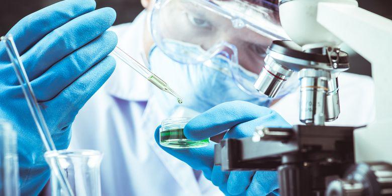 Ilustrasi peneliti melakukan pengembangan vaksin virus corona, covid-19, di laboratorium.