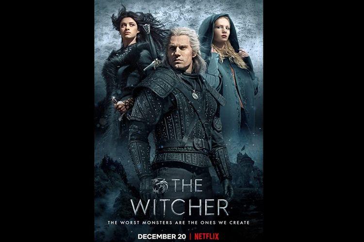Henry Cavill, Freya Allan dan Anya Chalotra dalam serial drama fantasi The Witcher (2019).