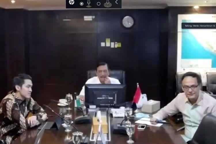 Menteri Koordinator Bidang Kemaritiman dan Investasi Luhut Binsar Pandjaitan melakukan diskusi virtual bersama tim Dana Indonesia, di Jakarta, Kamis (4/6/2020).