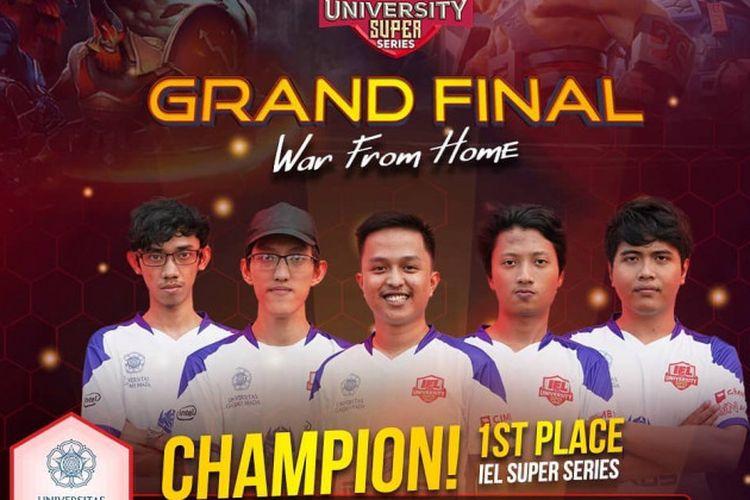 Tim UGM PRIDE berhasil meraih juara pertama pada gim DotA 2 dari gelaran Indonesia Esports League (IEL) University Super Series yang diselenggarakan pada 11-12 Juni 2020 lalu.