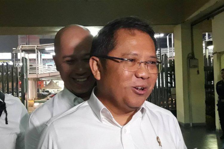 Menkominfo Rudiantara di kantor Bawaslu, Jakarta Pusat, Senin (18/2/2019).