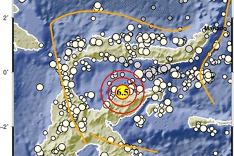 Lokasi gempa bermagnitudo 6,5 di Tojouna-una Sulawesi Tengah yang getarannya dirasakan hingga ke Gorontalo, Sulut dan Sulbar.