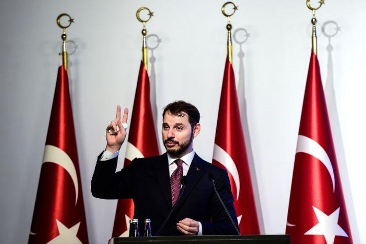 Menteri Keuangan Turki Berat Albayrak. (AFP/Yasin Akgul)