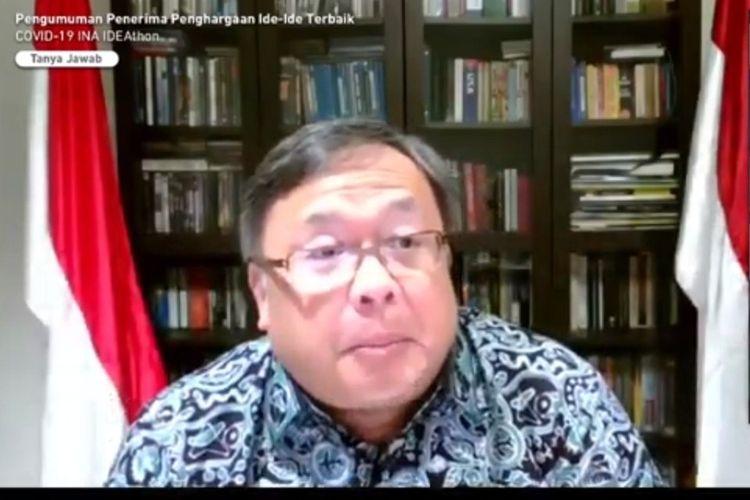 Tangkapan layar Menristek/BRIN Prof Bambang Brodjonegoro saat mengumumkan 17 pemenang INA IDEAthon.