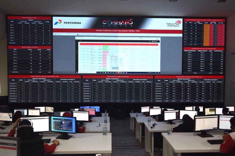 Command Centre Digitalisasi Pertamina di Telkom Akses Legok, Kamis (21/1/2021).