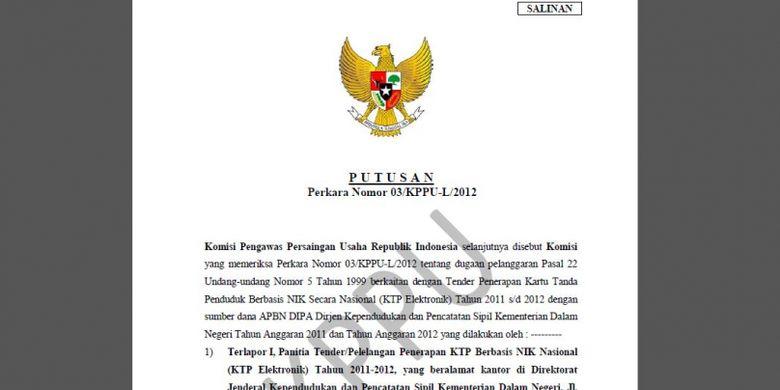 Salinan Putusan Perkara Nomor 03/KPPU-L/2012