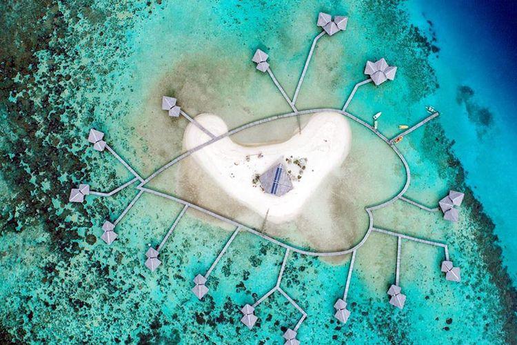 Obyekwisata Pulau Cinta difoto dari udara