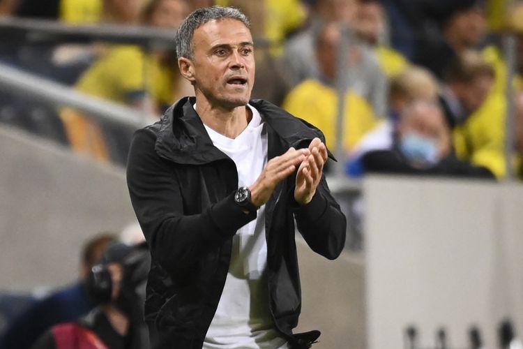 Pelatiht timnas Spanyol, Luis Enrique, saat pertandingan antara Spanyol dan Swedia pada Kualifikasi Piala Dunia 2022 Zona Eropa di Friends Arena, Jumat (3/9/2021) dini hari WIB.